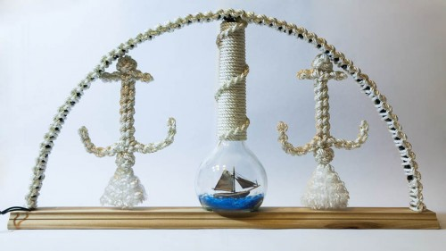Der fertige Schwibbogen mit Buddelschiff