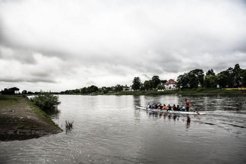 """Die Drachenbootfahrer des WSV """"Am Blauen Wunder"""" e.V. beim Training."""